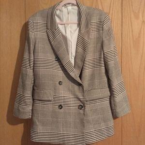 H&M oversized brown and cream printed blazer